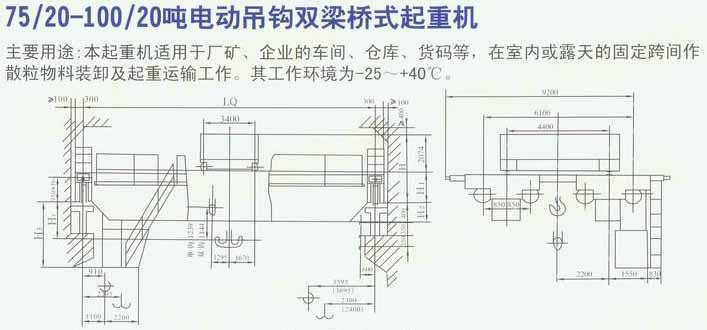75/20-100/20吨电动电动吊钩双梁桥式起重机